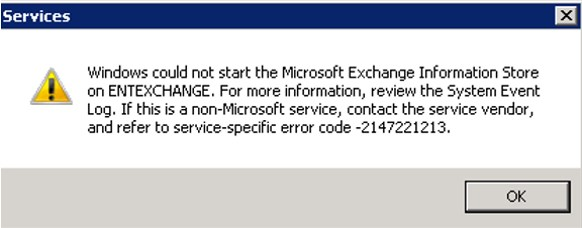 Windows could not start the Microsoft Exchange Information Store
