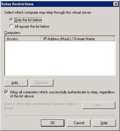 exchange 2010 error 550 5.7.1 unable to relay