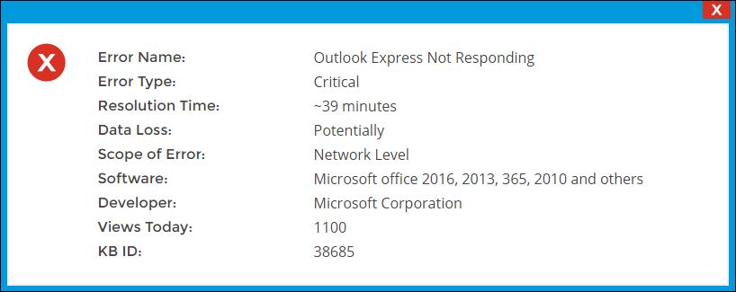 Outlook Express Not Responding Windows XP