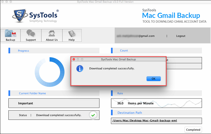 successfully gmail converted to eml