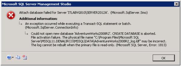 SQL Server error 1813