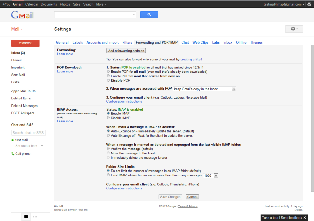 Configure Gmail with IMAP