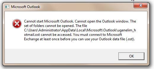 cannot open outlook when offline