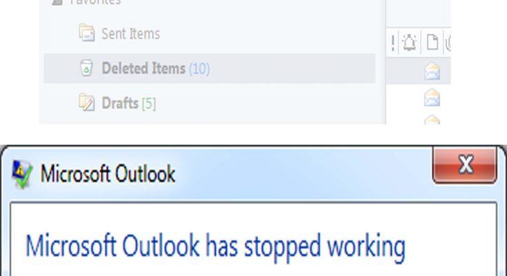 outlook crashes on send receieve