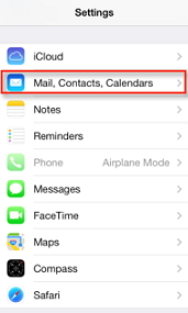 select 'Mail, Contacts, Calendar'