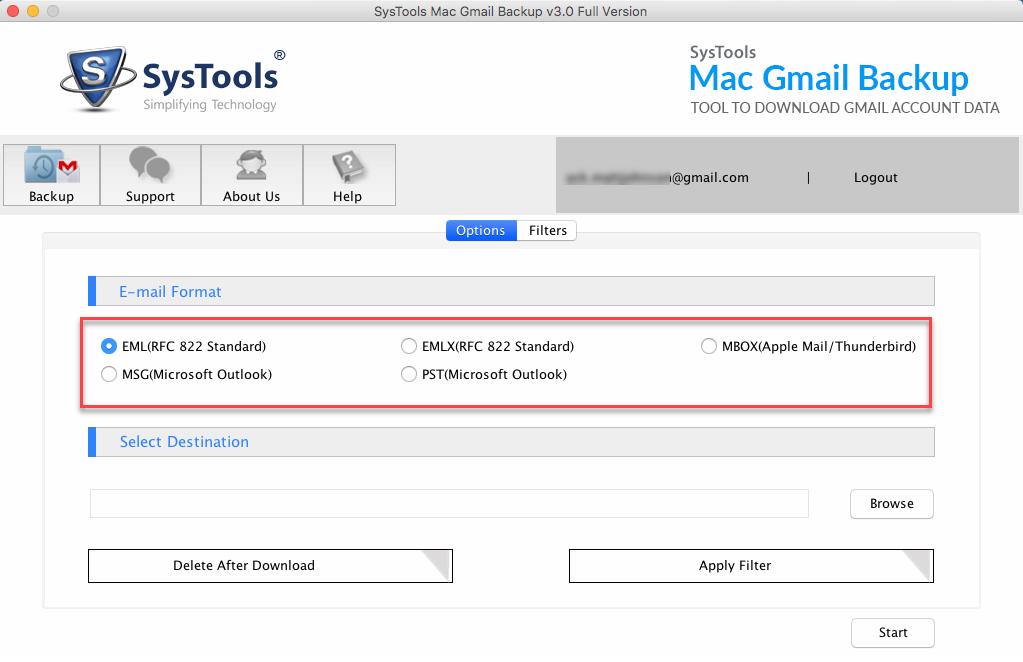 select mac mail file format