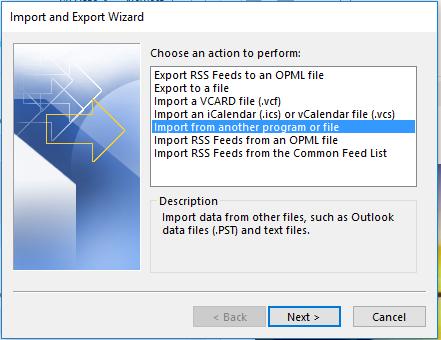 Import & Export Wizard