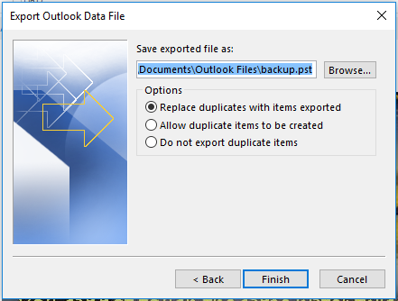 Save exported file