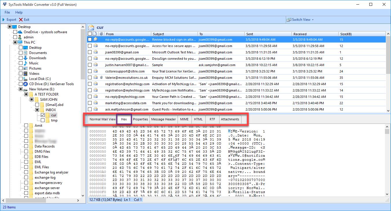 preview maildir files