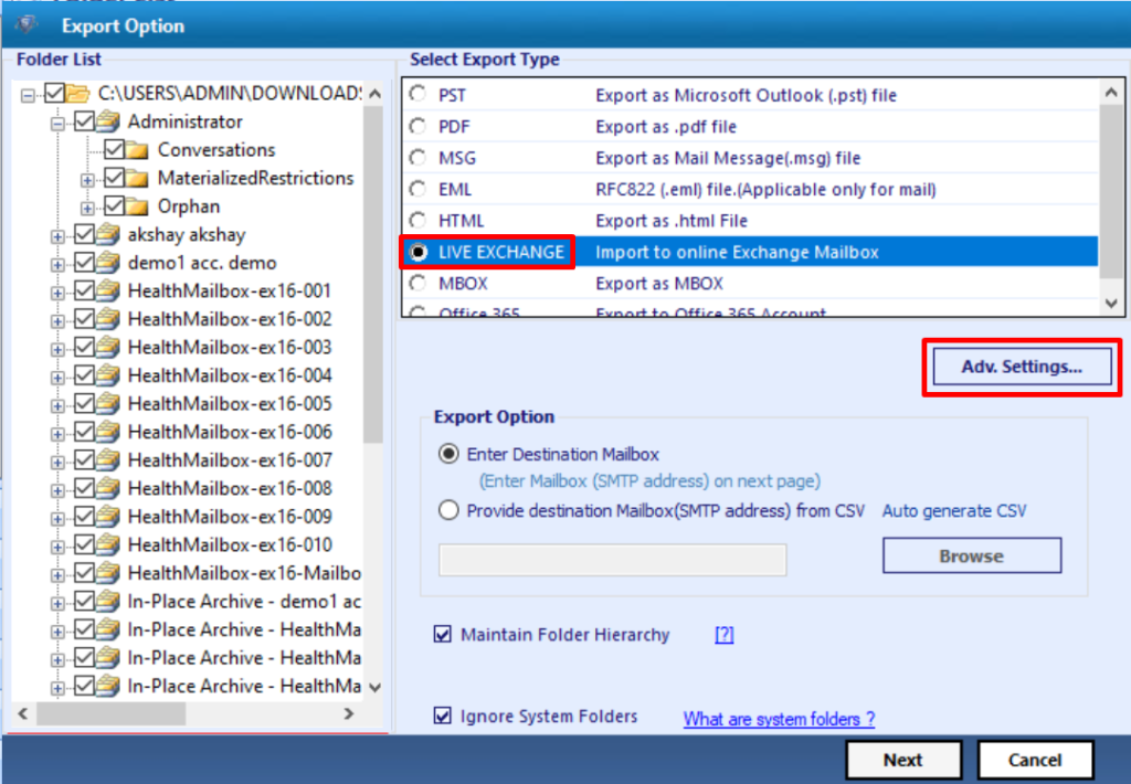 select export type option