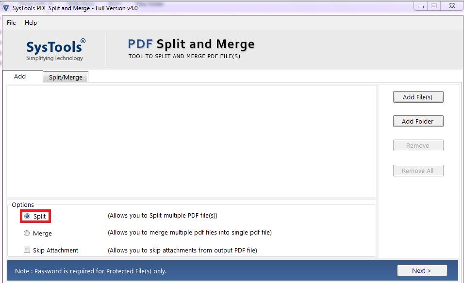 split secured pdf