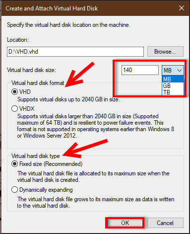 initialize vhd