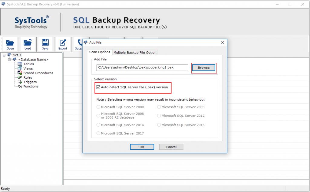 restore multiple bak file