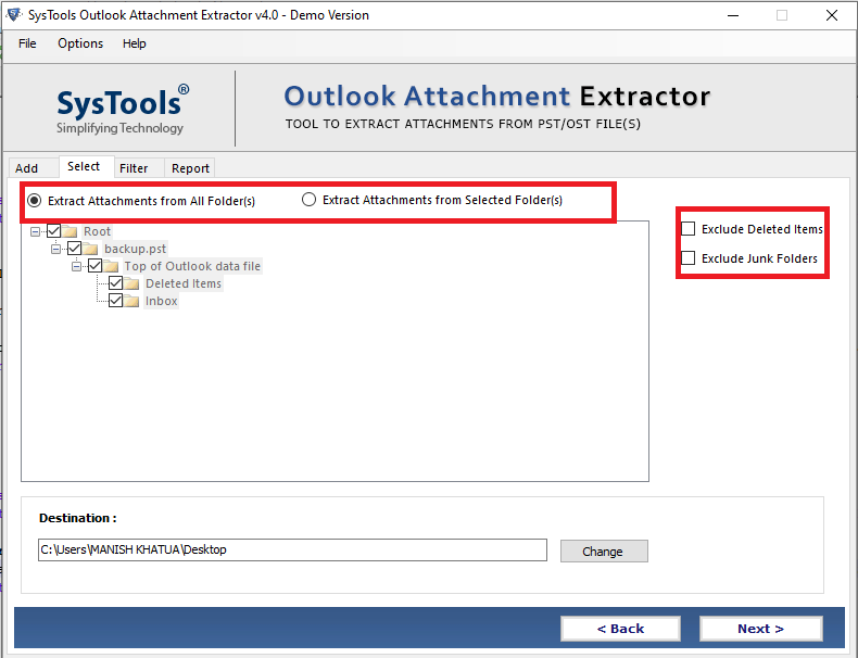 extract outlook pst, ost, bak attachments