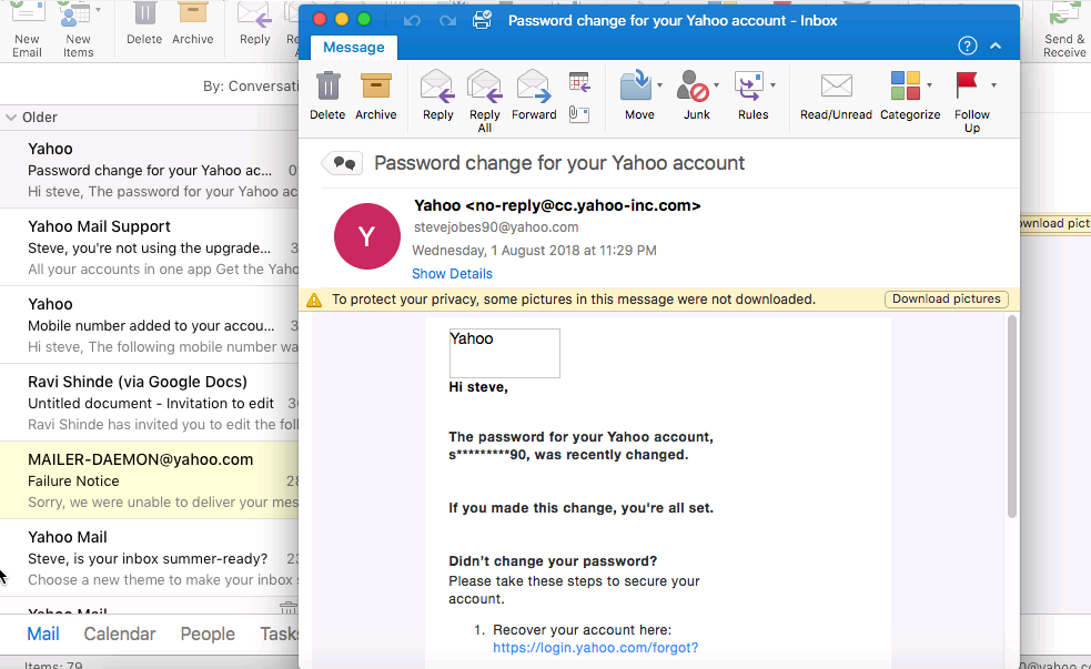 double-click on email