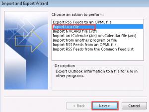 Выберите экспорт в файл