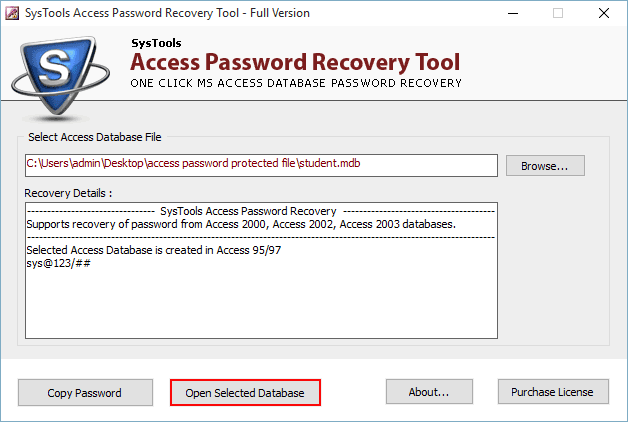 open password protected mdb file