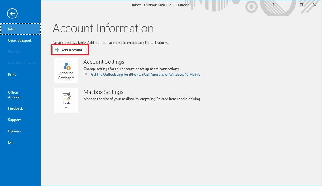 add account option