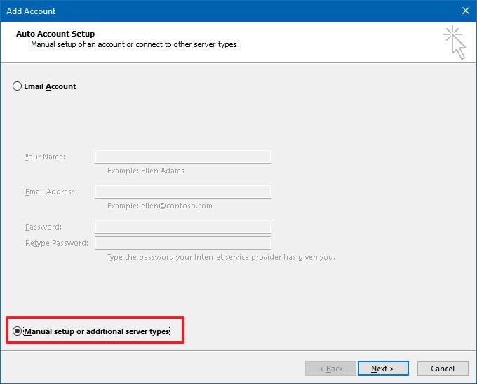 manually add Verizon account to Outlook