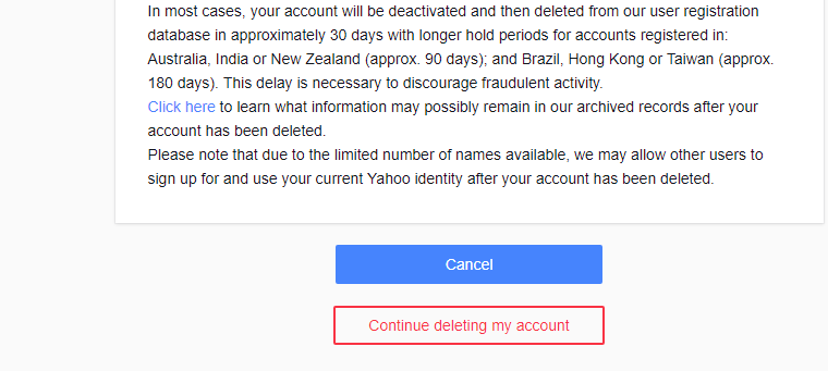 Delete Yahoo mail account Permanently