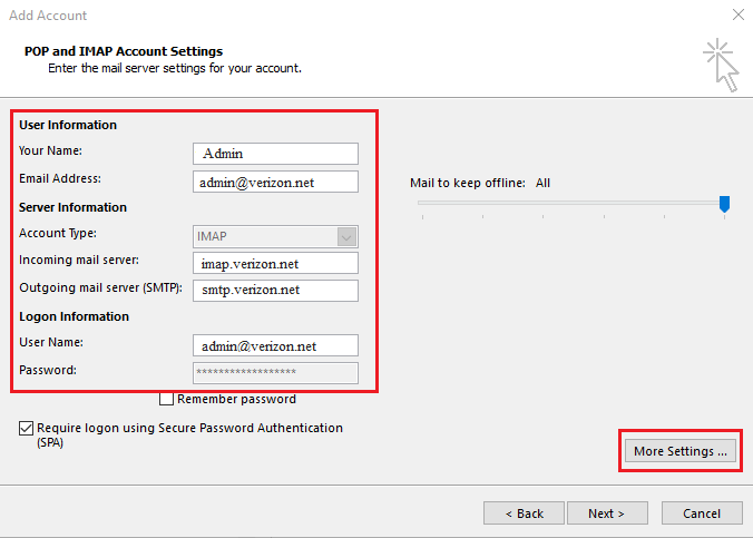 server configuration verizon mail