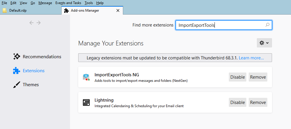 Input ImportExportTools and click on search button