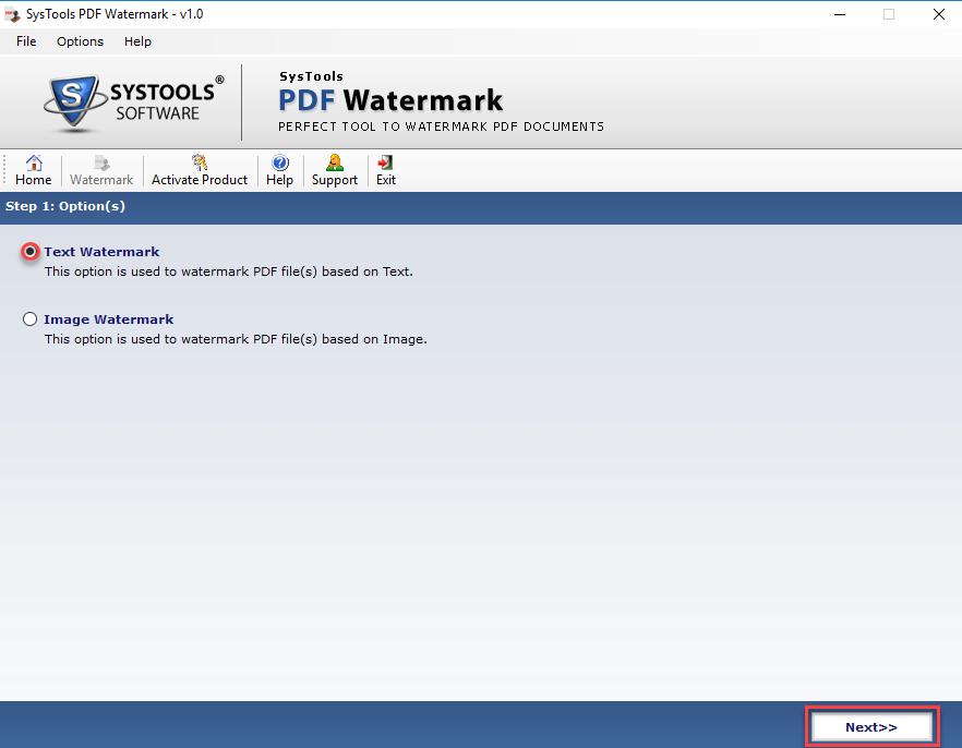 choose pdf watermark type