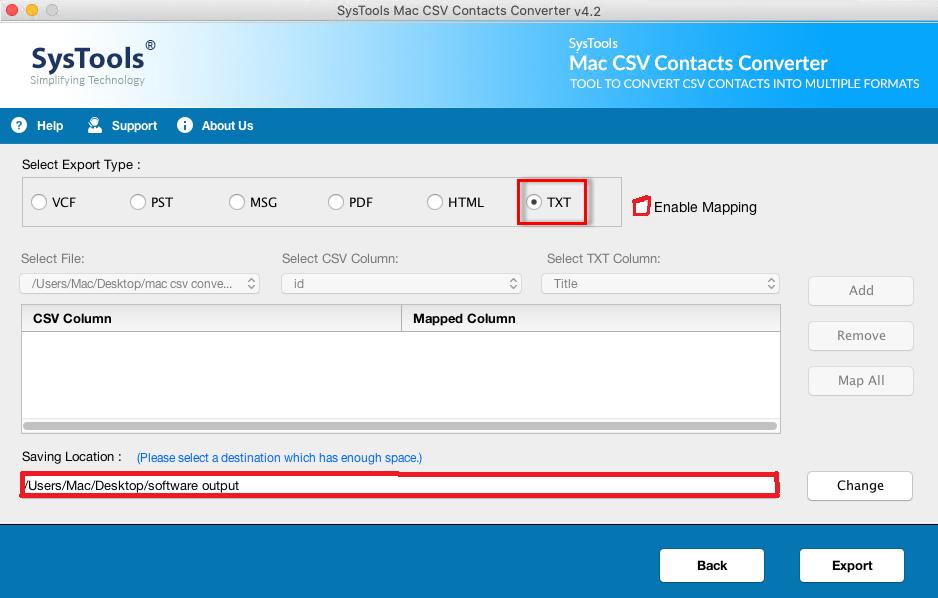 convert csv to txt