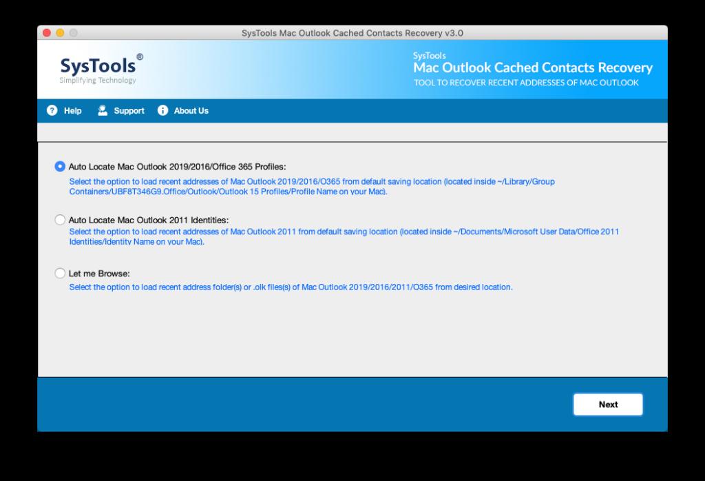 Auto locate recent addresses in MAC Outlook