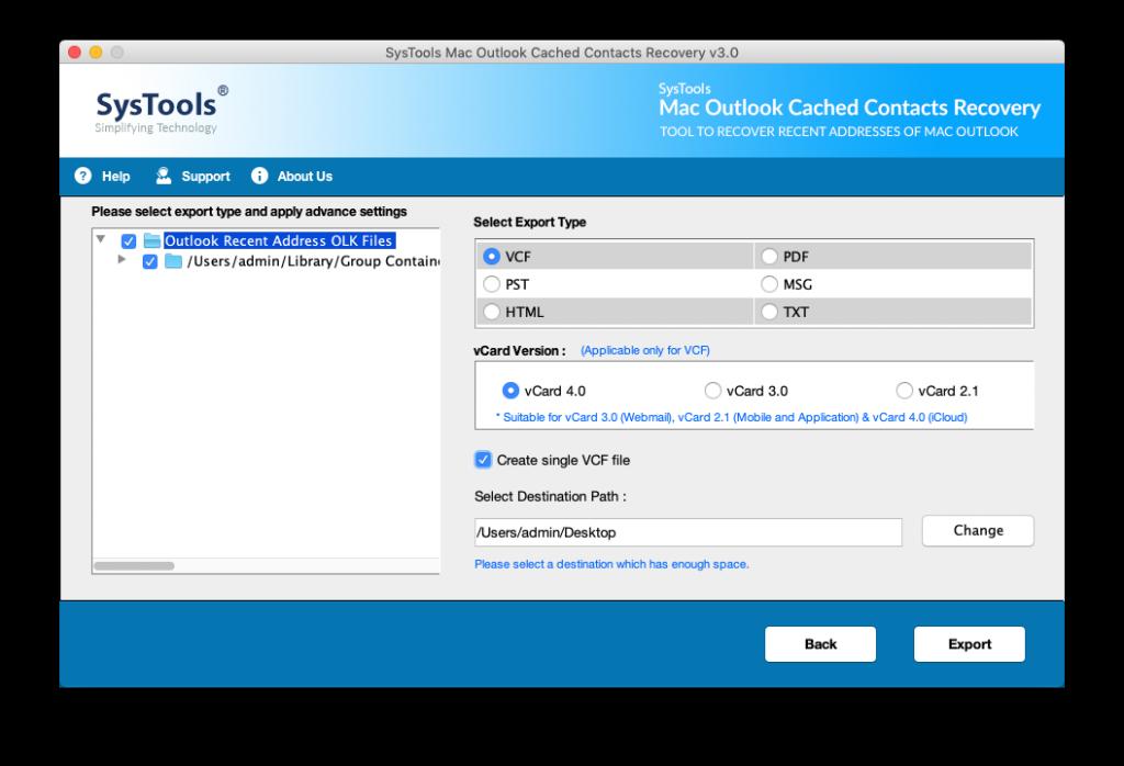export recent addresses in Outlook for MAC