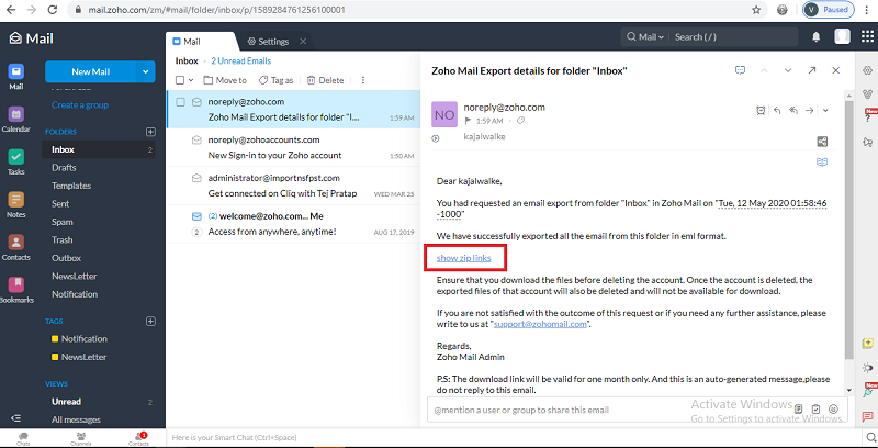 download zoho emails