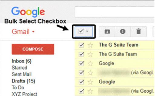 bulk select emails