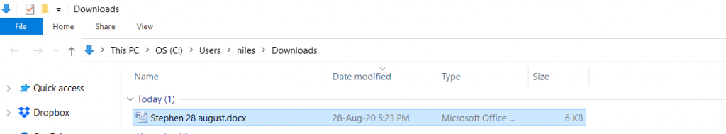 donwnloaded file
