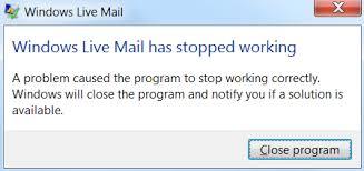 Windows Live Mail перестала работать