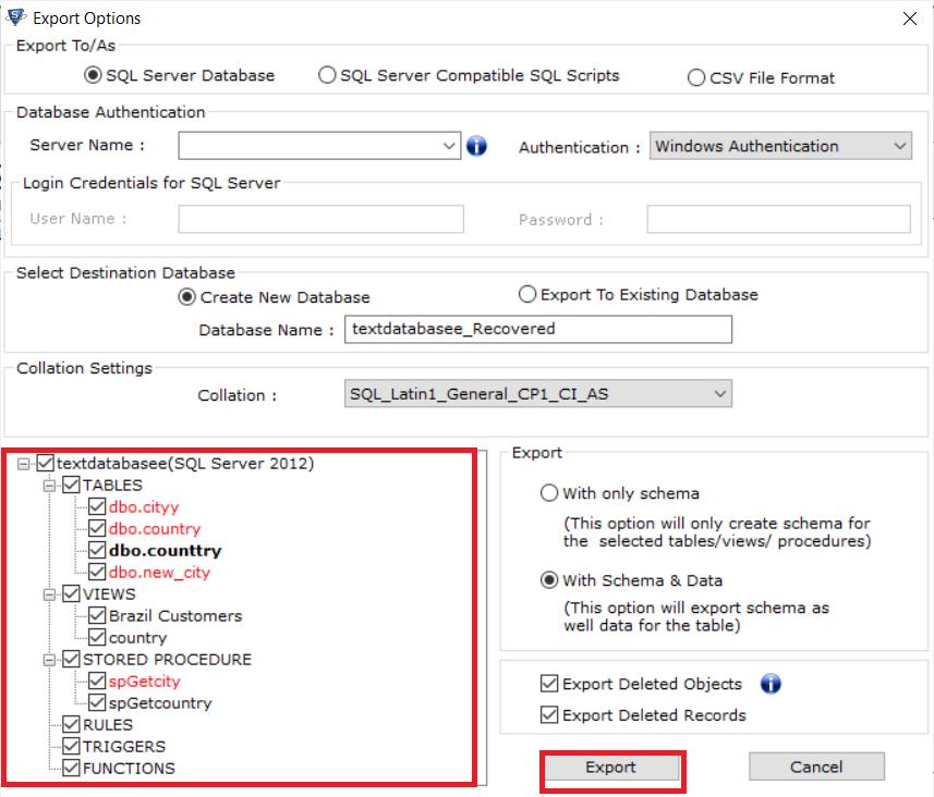 Choose database object