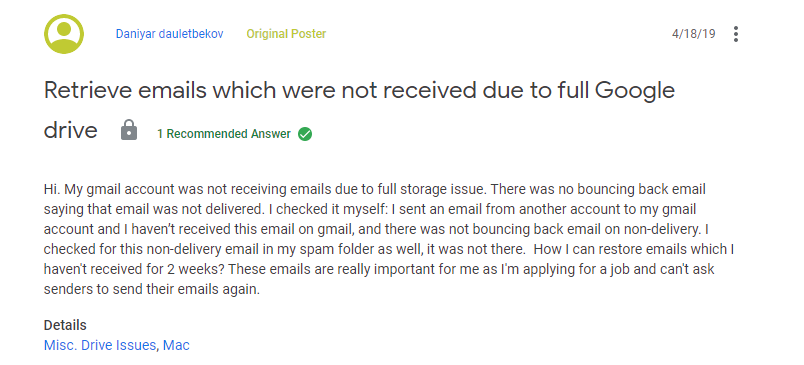 Retrieve Gmail Emails Not Received Due To Storage Full Issue