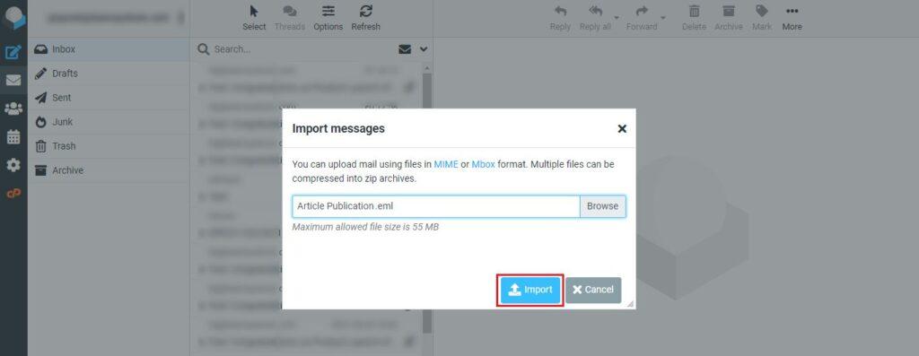 перенести электронную почту из Gmail в панель управления
