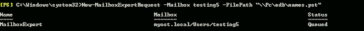 powershell command to take backup mailbox to pst