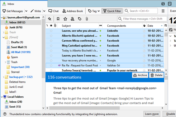 select thunderbird emails