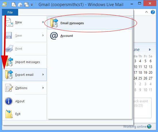 windows live mail file menu
