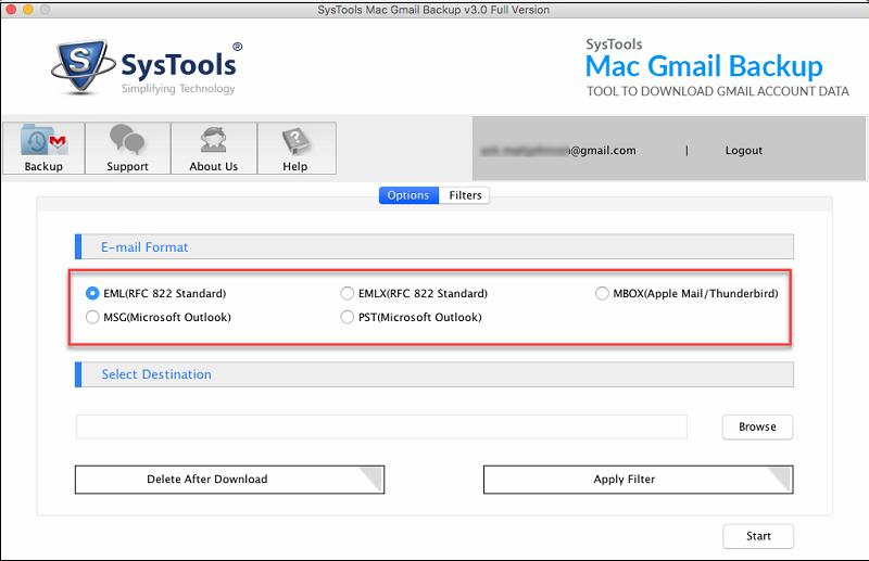 select eml file format