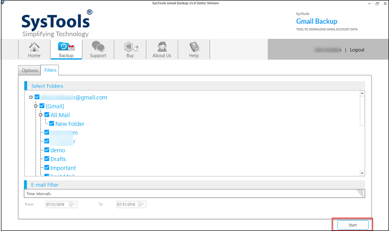 click on start for migration of Gmail emails into EML