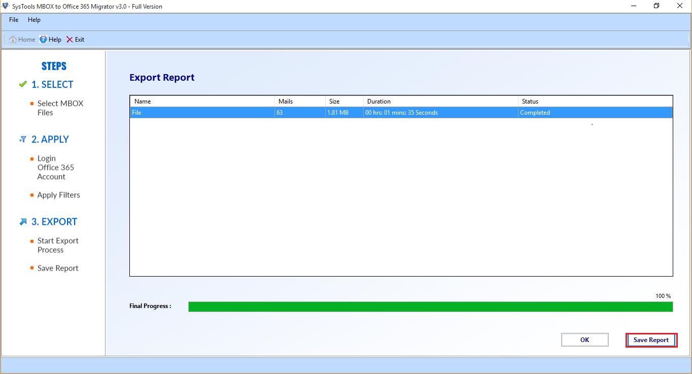 Generate Export Report