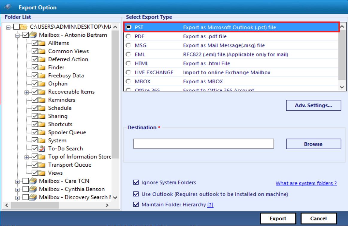 Windows 7 Export Entire Exchange Database to PST 7.0 full