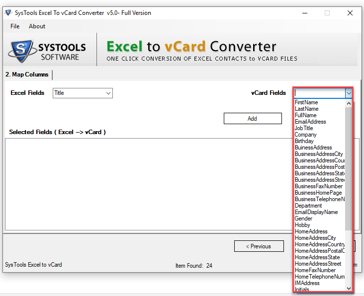 vcard contacts attributes