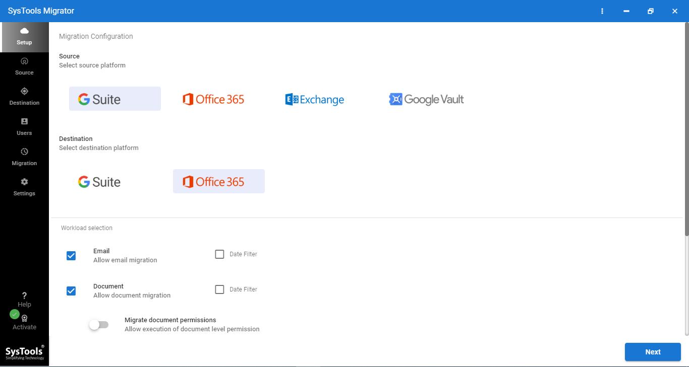 run Google Workspace to Microsoft 365 migration