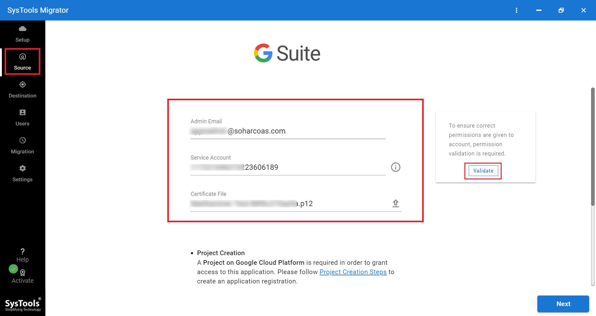 enter Google Workspace credentials