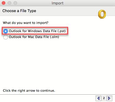 select PST option