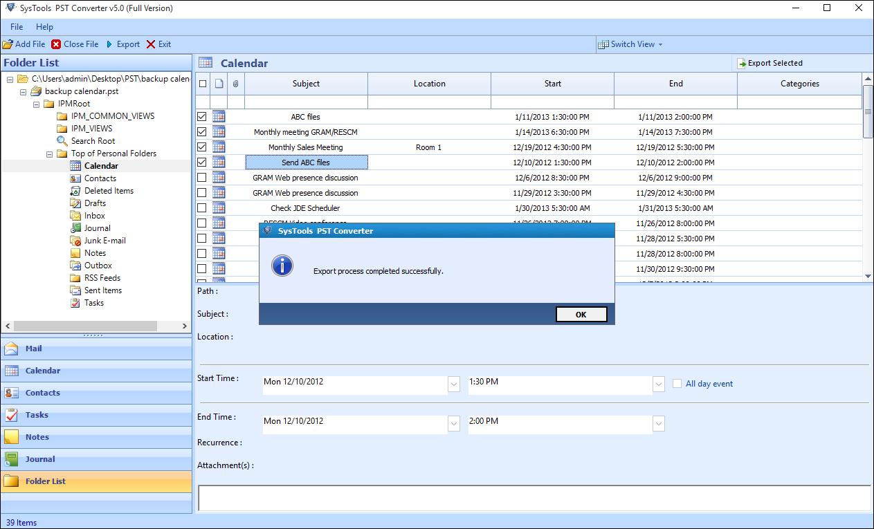 экспорт календаря Outlook в почту когтей через файл ics