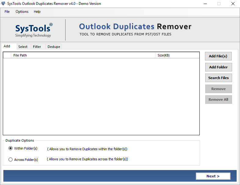 remove duplicate items in Outlook